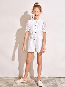 Girls Button Front Puff Sleeve Lace Overlay Romper