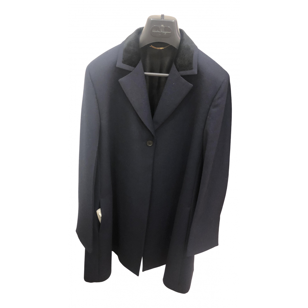 Salvatore Ferragamo - Manteau   pour femme en laine - bleu