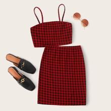 Gingham Crop Cami Top & Skirt Set