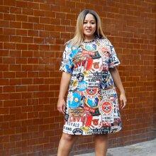 T-Shirt Kleid mit Buchstaben & Flugzeug Muster