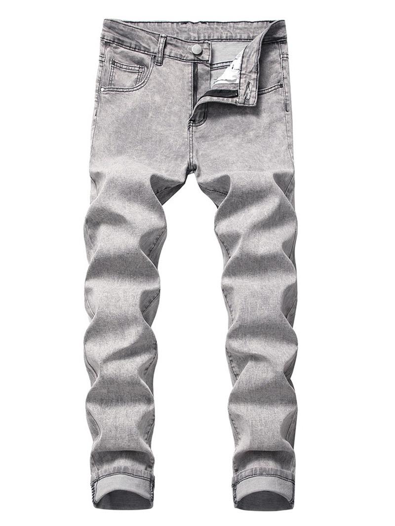 Ericdress Button Color Block Casual Men's Mid Waist Jeans