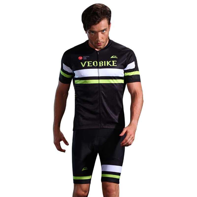 3D Silicone Magic Padded for Bike Men Cycling Jersey Set Black