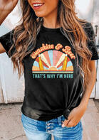 Sunshine & Beer That's Why I'm Here T-Shirt Tee - Black