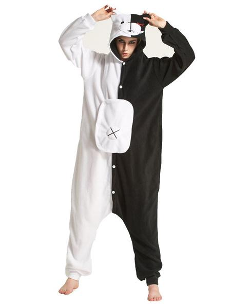 Milanoo Onesie Kigurumi Pajamas Monokuma Flannel for Adult Winter Sleepwear Animal Costume Halloween