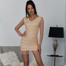 Yilibasha Zip Back Ruched Glitter Dress