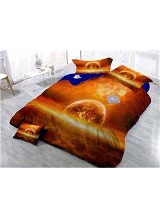 Mars Planet Wear-resistant Breathable High Quality 60s Cotton 4-Piece 3D Bedding Sets