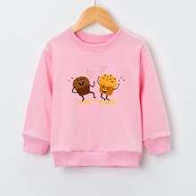 Toddler Girls Cartoon And Letter Graphic Sweatshirt