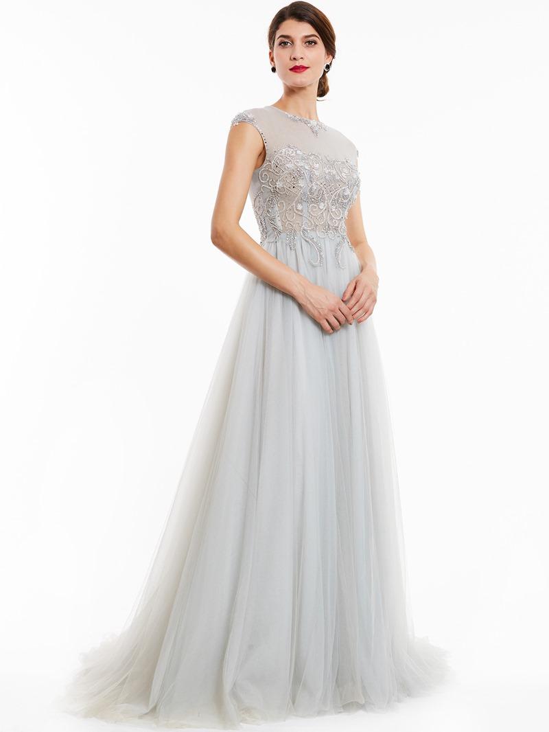 Ericdress A Line Cap Sleeve Beaded Crystal Evening Dress