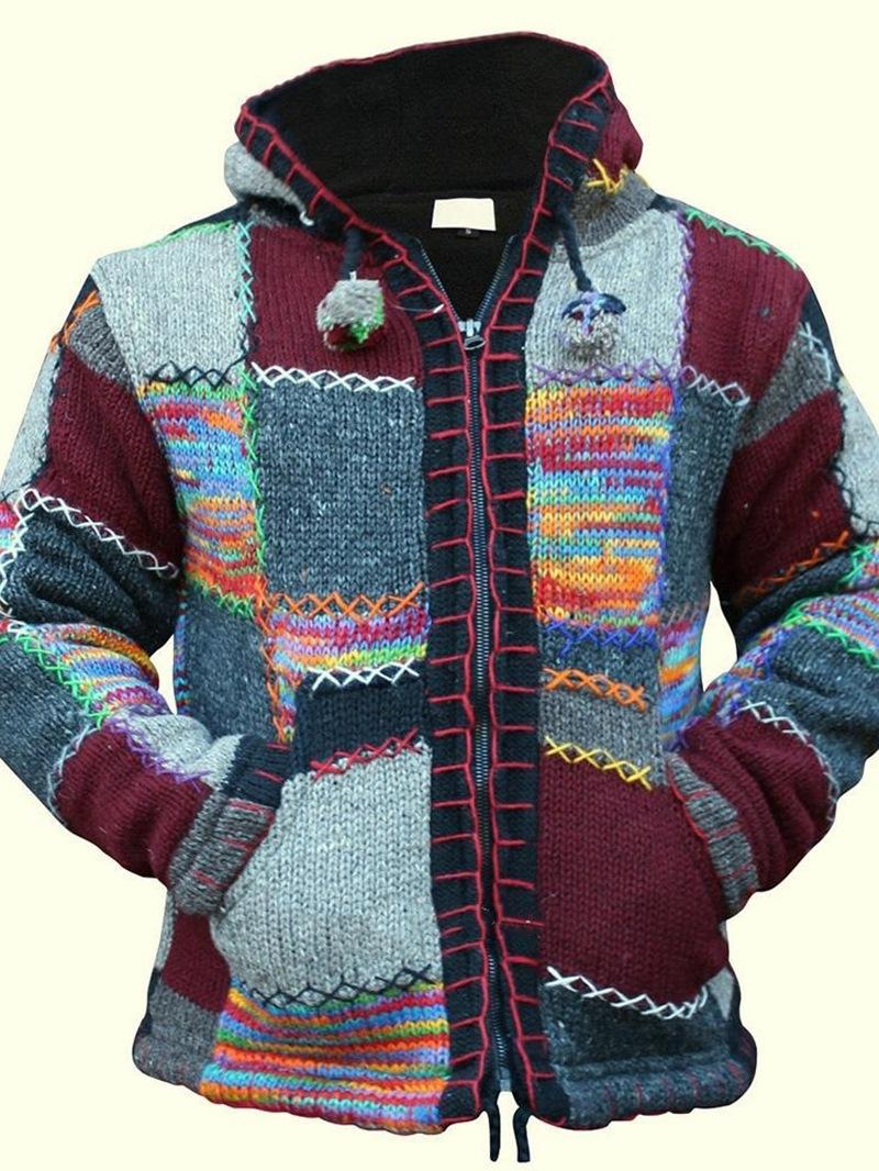 Ericdress Patchwork Standard Color Block Zipper Mens Slim Sweater