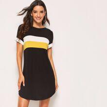 Colorblock Curved Hem Dress