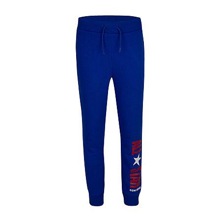 Converse Big Boys Mid Rise Straight Jogger Pant, Large (14-16) , Blue