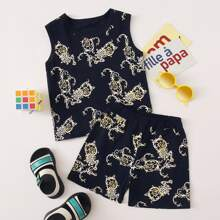 Toddler Boys Baroque Print Tank Top With Track Shorts