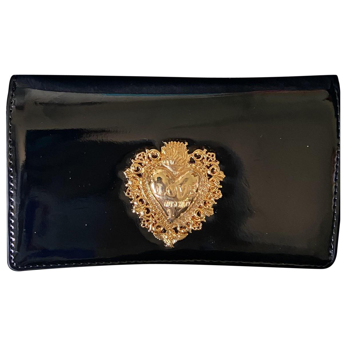 Moschino Love \N Portemonnaie in  Schwarz Lackleder