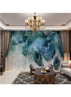 3D Beautiful and Bright Peacock Feathers Printed Decorative 2 Panels Custom Sheer Environment-friendly and Durable Thick Hair Cords No Pilling No Fadi