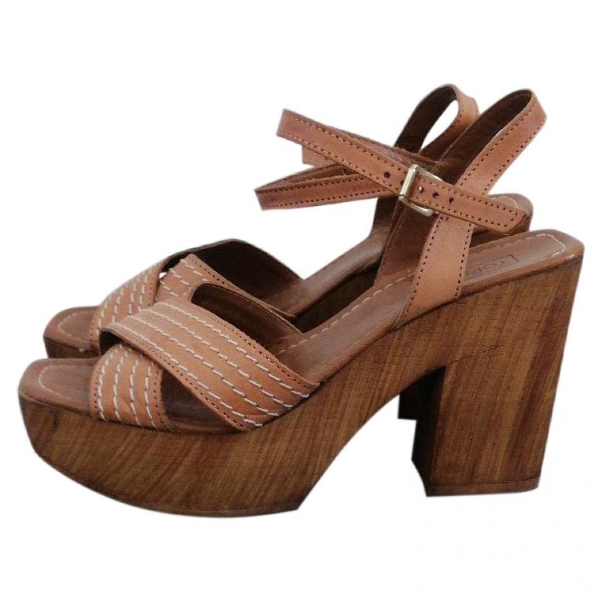 Topshop - Sandales   pour femme en cuir - camel