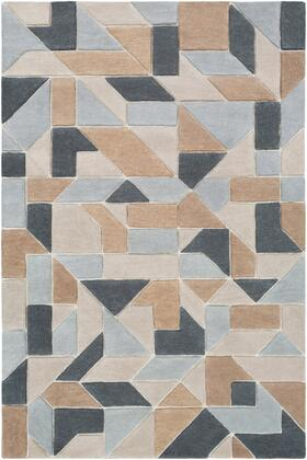 Vernier VRN-1014 8' x 10' Rectangle Modern Rugs in Tan  Light Gray  Khaki  Charcoal
