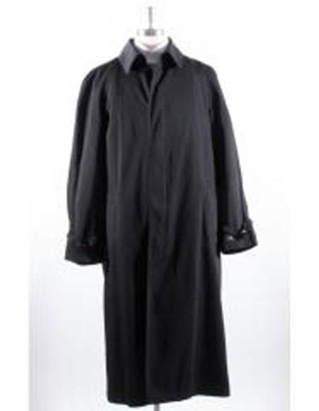 Mens Big And & Tall Trench Coat Black