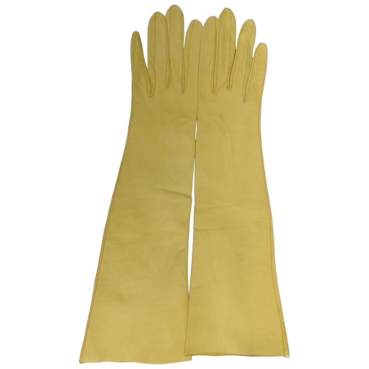 Pierre Balmain - Gants   pour femme en cuir - jaune