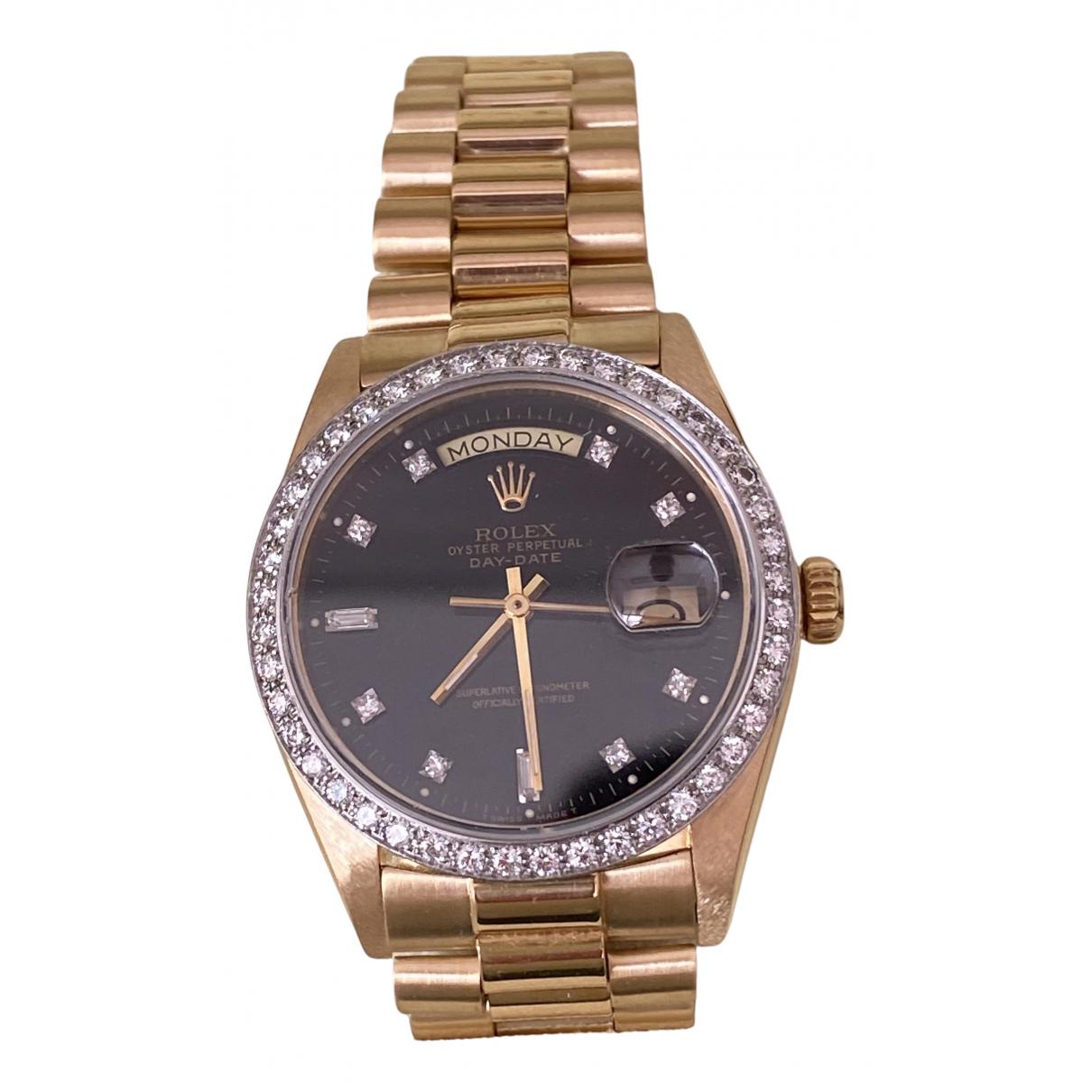 Rolex Day-Date 36mm Uhr in  Schwarz Gelbgold
