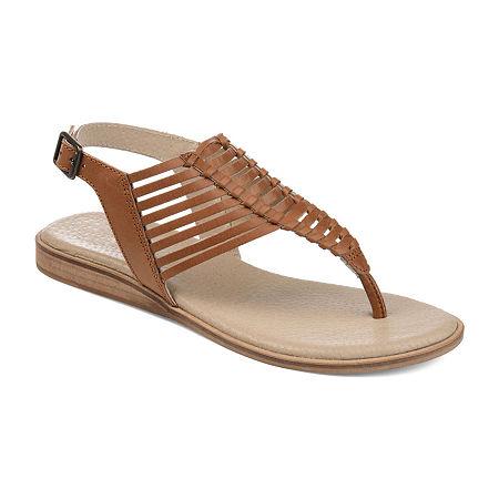 Journee Signature Womens Davis T-Strap Flat Sandals, 9 Medium, Brown