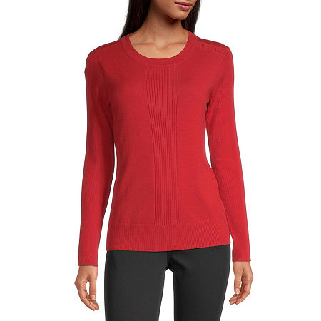 Liz Claiborne Womens Round Neck Long Sleeve Pullover Sweater, Petite Small , Red
