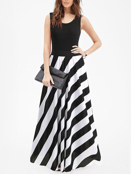 Milanoo Stripe Maxi Dress Sleeveless Black Jewel Neck Summer Dress