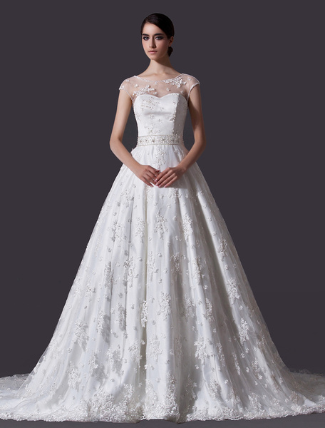 Milanoo Ivory A-line Jewel Neck Off-The-Shoulder Beading Lace Wedding Dress
