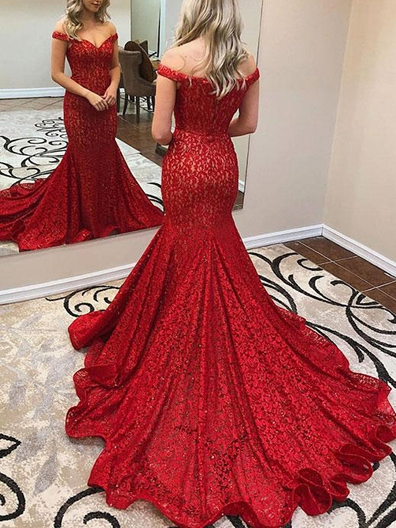 Ericdress Mermaid Red Lace Evening Dress