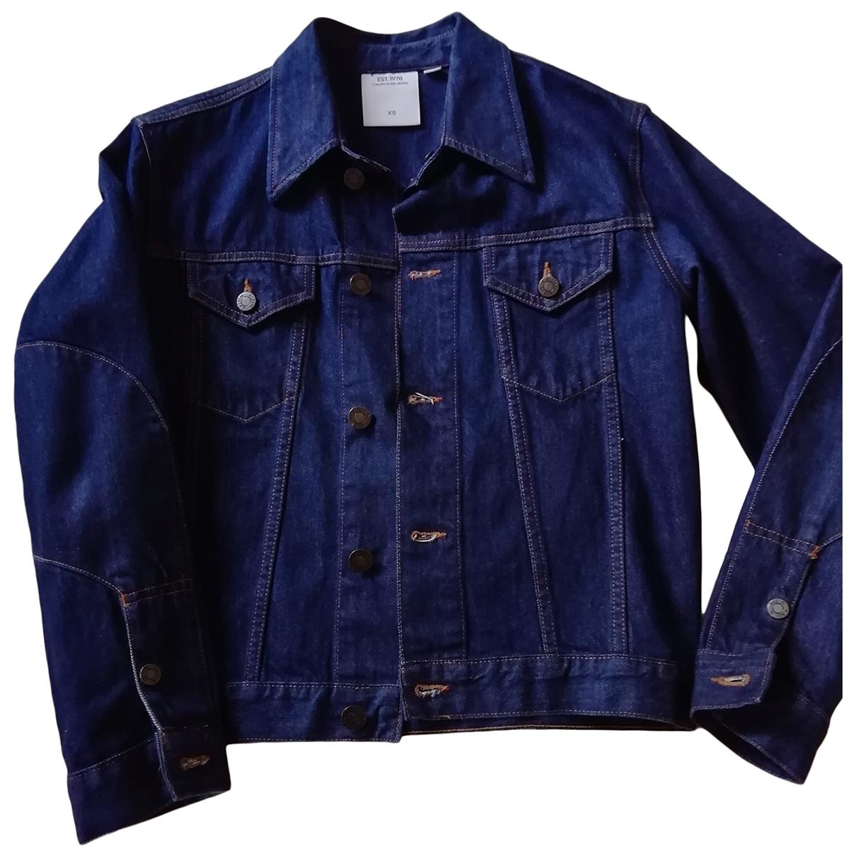 Calvin Klein Collection \N Lederjacke in  Blau Denim - Jeans