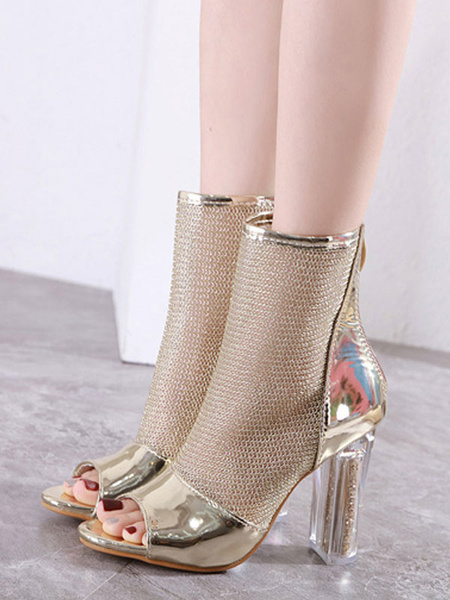 Milanoo High Heel Booties Gold Open Toe Cut Out Zip Up Summer Boots