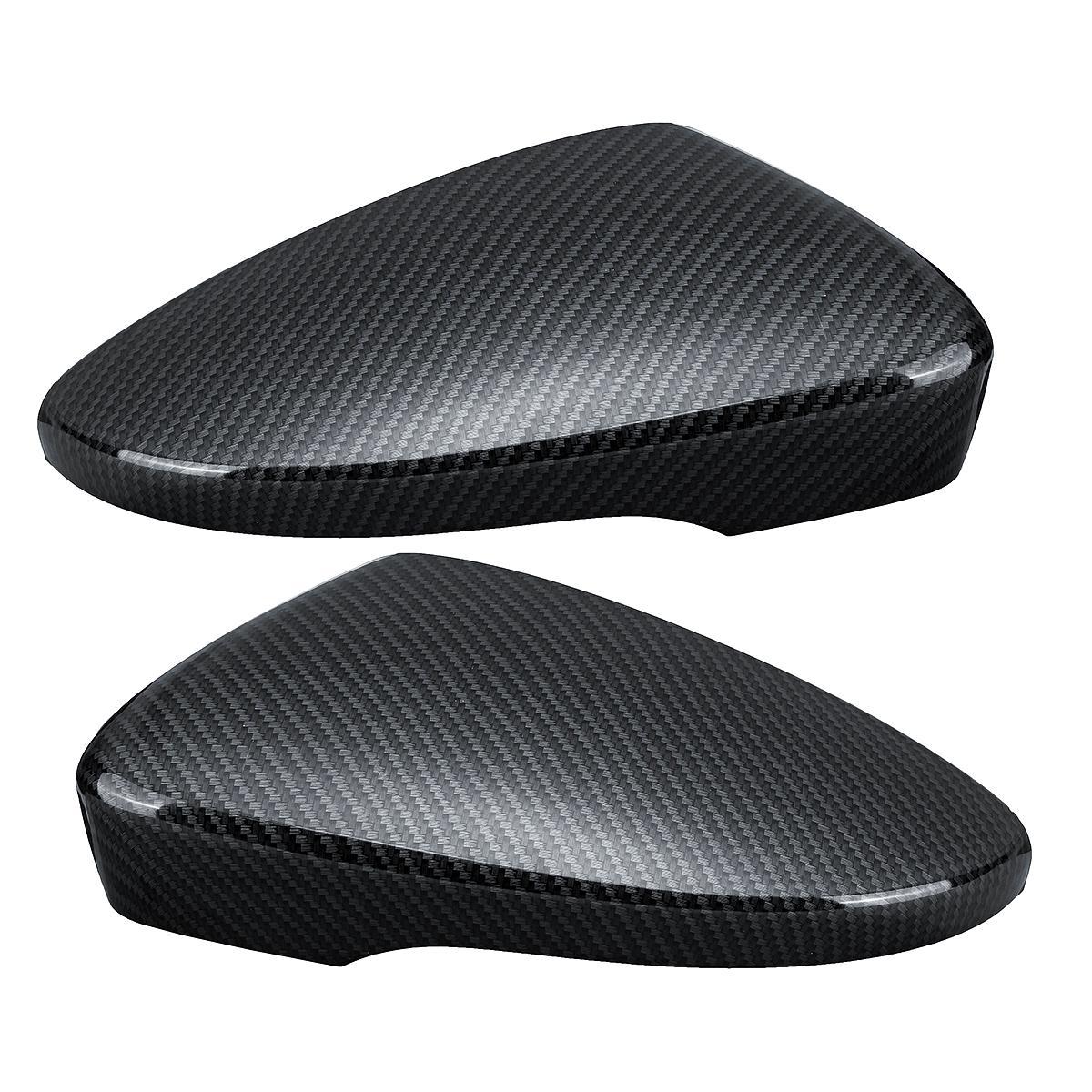 Car Door Wing Rearview Mirror Cover Carbon Black Pair for VW Passat Scirocco Beetle CC Eos