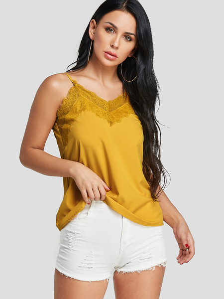 Yoins Yellow Lace Inset V-neck Cami