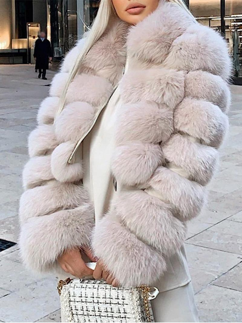 Ericdress Plain Short Lapel Winter Zipper Faux Fur Overcoat