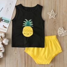 Toddler Boys Cartoon Pineapple Graphic Tank Top & Shorts