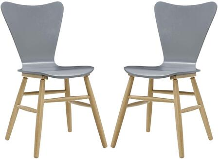 Cascade Collection EEI-3476-GRY Set of 2 Dining Chairs with Splayed Dowel Beechwood Legs  Mid-Century Style  Contoured Organic Flared Back and