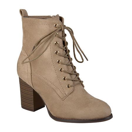 Journee Collection Womens Baylor Booties Stacked Heel, 8 1/2 Medium, Beige