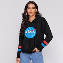 Striped And Letter Graphic Drawstring Hoodie