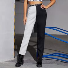 High Waist Two Tone Jeans Without Belt