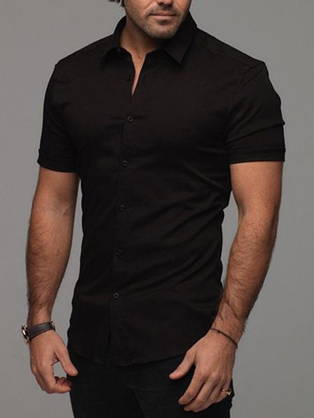 Yoins INCERUN Men Elastic Plain Classical Shirt