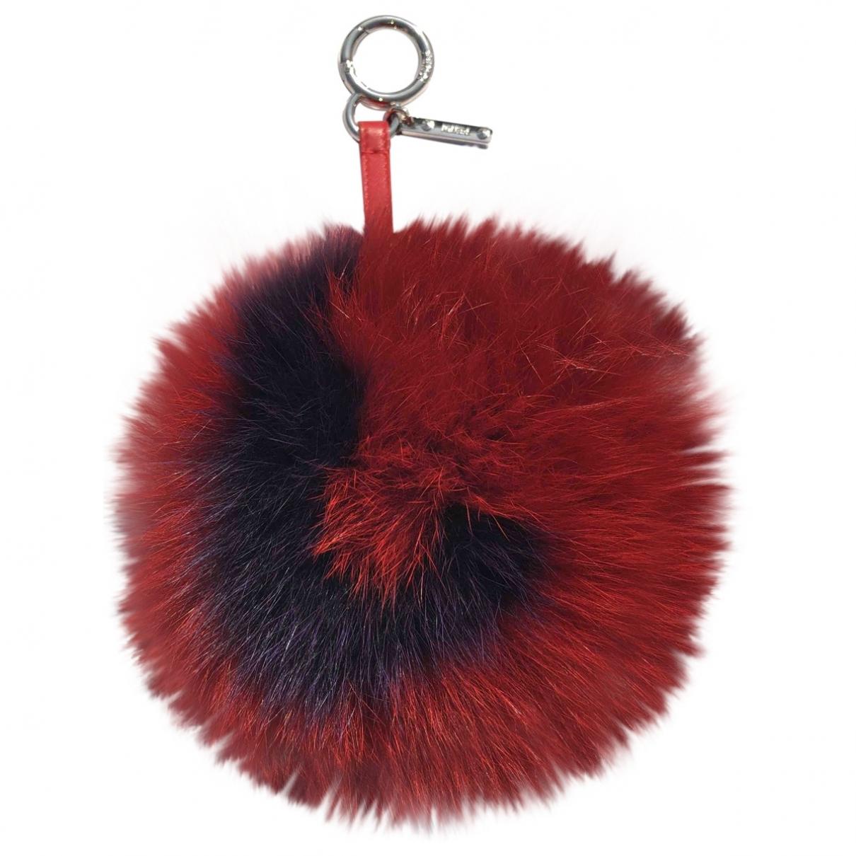 Fendi Pompon Taschenschmuck in  Rot Fuchs