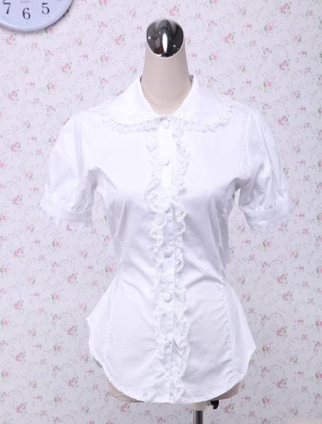 Milanoo Blusa blanca de lolita de algodon y de encaje
