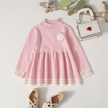 Toddler Girls Stand Collar Striped Ruffle Hem Sweater