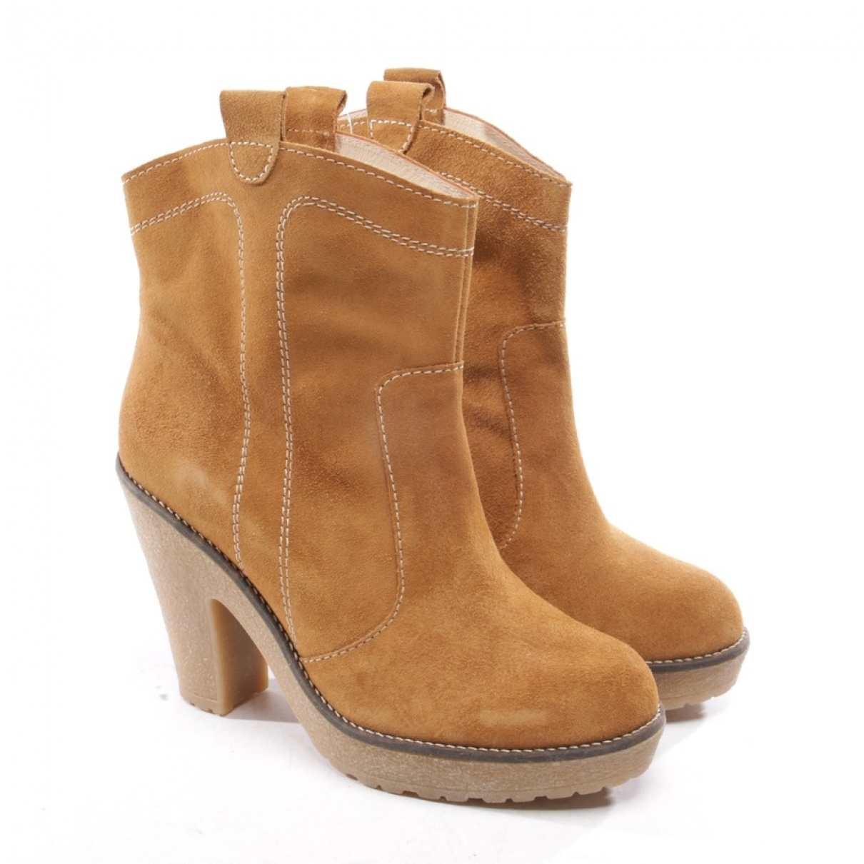 Ganni \N Beige Leather Ankle boots for Women 41 EU