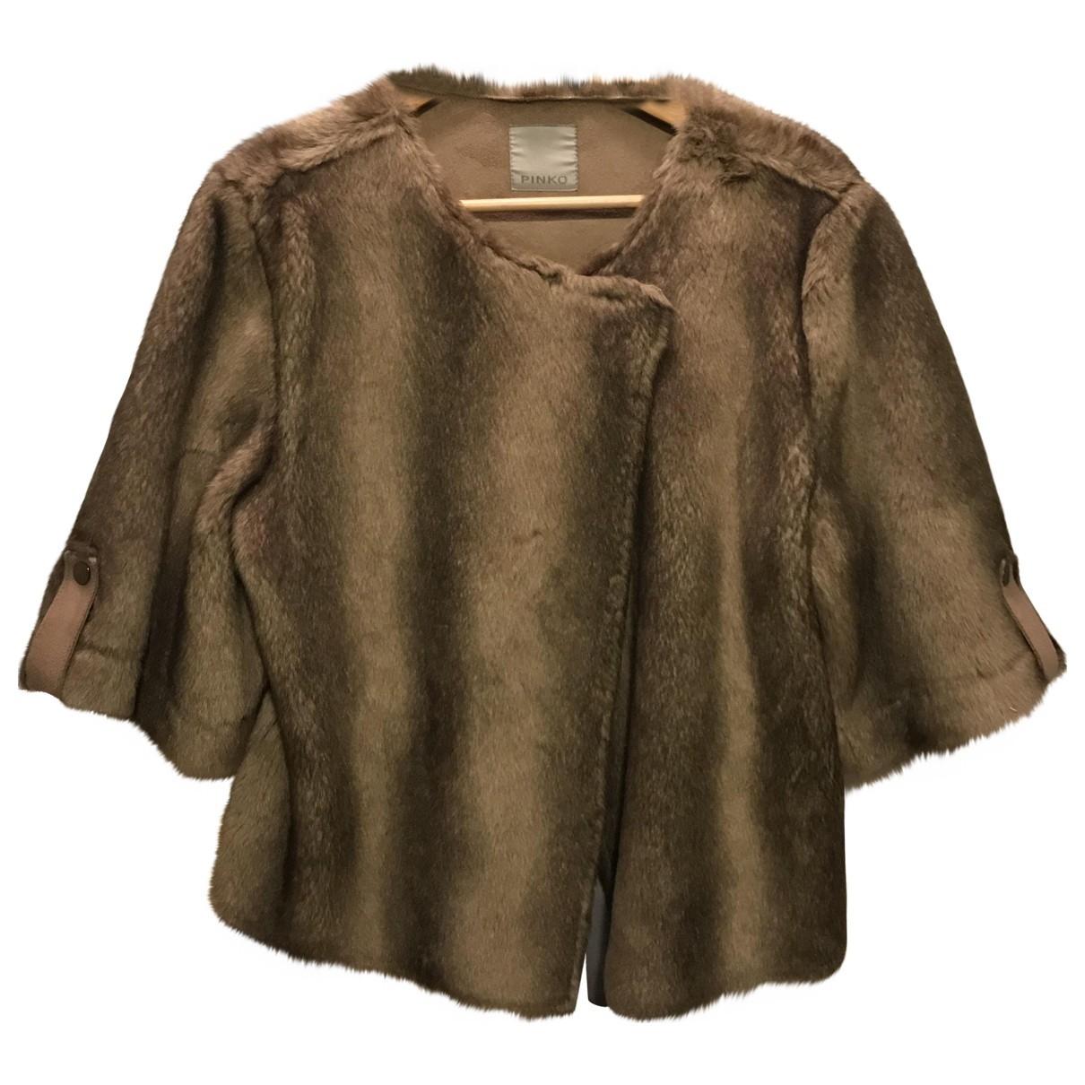 Pinko - Manteau   pour femme en fourrure synthetique - beige