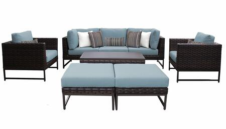 Barcelona BARCELONA-08c-BRN-SPA 8-Piece Patio Set 08c with 2 Corner Chairs  2 Club Chairs  1 Armless Chair  1 Coffee Table and 2 Ottomans - Beige and