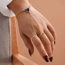 1pc Dreieck Dekor Fingerkette Armband