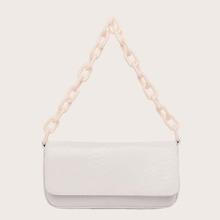 Snakeskin Print Flap Chain Baguette Bag