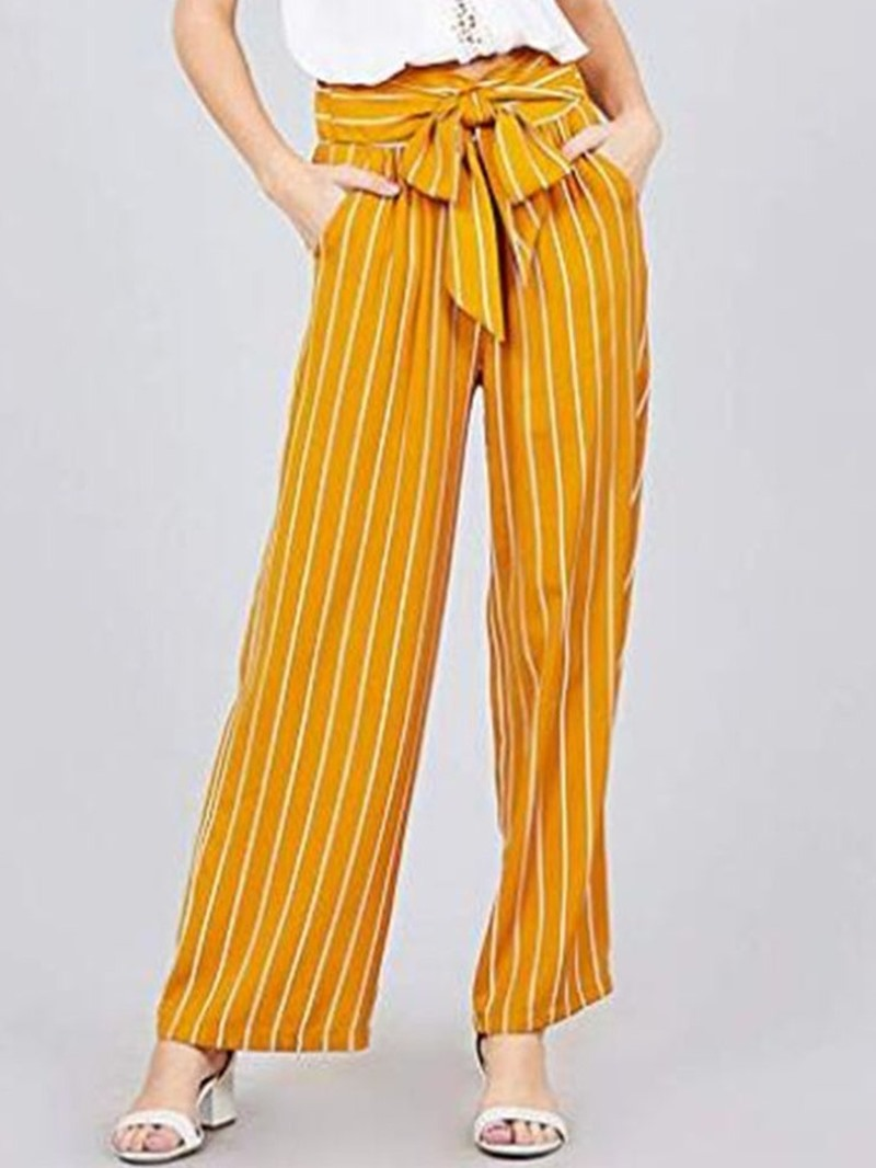 Ericdress Bowknot Stripe Color Block Loose Full Length Wide Legs Casual Pants