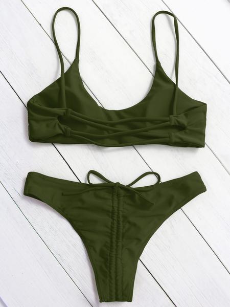 Yoins Army Green Basic Criss-cross Back String Bikini Set