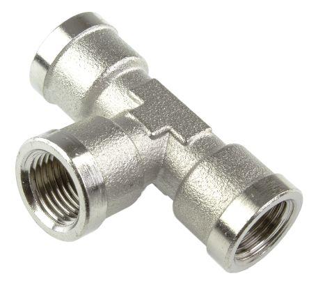 Legris Hydraulic Tee Threaded Adapter 0915 00 10, Connector A G 1/8 Female Connector B G 1/8 Female (3)